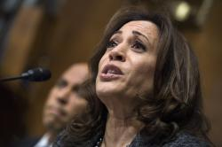 In this Sept. 27, 2018, file photo, Sen. Kamala Harris, D-Calif., listens to Christine Blasey Ford testify during the Senate Judiciary Committee hearing on the nomination of Brett Kavanaugh to be an associate justice of the Supreme Court in Washington