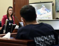 n this Jan. 19, 2018, file photo, former Olympian Aly Raisman confronts Larry Nassar during victim impact statements in the fourth day of sentencing in Lansing, Mich.