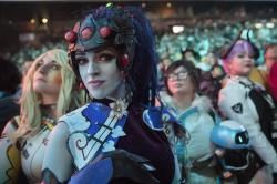 Cosplayer fans watch the competition between Philadelphia Fusion and London Spitfire during the Overwatch League Grand Finals competition, at Barclays Center in the Brooklyn borough of New York.