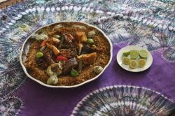 A platter of thiebou dieune is serve by Chef Touty Sarr, in Ngaparou Senegal.