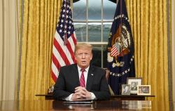 President Donald Trump speaks from the Oval Office of the White House as he gives a prime-time address about border security Tuesday, Jan. 8, 2018, in Washington