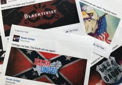 This Nov. 1, 2017 file photo shows prints of some of the Facebook ads linked to a Russian effort to disrupt the American political process and stir up tensions around divisive social issues, released by members of the U.S. House Intelligence committee, in Washington
