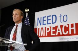 Billionaire investor and Democratic activist Tom Steyer speaks during a news conference where he announced his decision not to seek the 2020 Democratic presidential nomination, Wednesday, Jan. 9, 2019, at the Statehouse in Des Moines, Iowa
