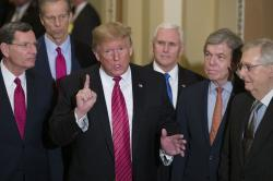 Sen. John Barrasso, R-Wyo., left, and Sen. John Thune, R-S.D., stand with President Donald Trump, Vice President Mike Pence, Sen. Roy Blunt, R-Mo., and Senate Majority Leader Mitch McConnell of Ky., as Trump speaks while departing after a Senate Republican Policy luncheon, on Capitol Hill in Washington, Wednesday, Jan. 9, 2019