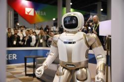 The Walker robot is on display at the Ubtech booth at CES International, Wednesday, Jan. 9, 2019, in Las Vegas