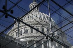 The Capitol Dome is seen through a skylight in the Capitol Visitors Center on the 20th day of a partial government shutdown, in Washington, Thursday, Jan. 10, 2019