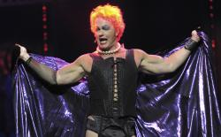 Craig McLachlan performs as Frank N Furter during a media call for The Rocky Horror Show at the Comedy Theatre in Melbourne.