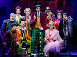 "Noah Weisberg and cast members of national tour of ""Charlie and the Chocolate Factory."""