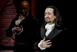 Lin-Manuel Miranda, composer and creator of the award-winning Broadway musical, Hamilton, receives a standing ovation with tears at the ending of the play's premiere held at the Santurce Fine Arts Center, in San Juan, Puerto Rico, Friday Jan. 11, 2019.