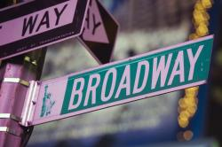 A Broadway street sign in New York.