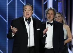 "Nick Vallelonga accepts the award for best screenplay for ""Green Book"" during the 76th annual Golden Globe Awards"