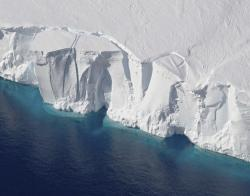 This 2016 photo provided by NASA shows the Getz Ice Shelf from 2016's Operation Icebridge in Antarctica