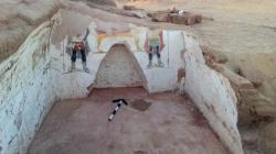 This undated handout photo from the Egyptian Antiquities Authority, shows colorful funeral paintings in an ancient tomb dating back to the Roman period, at the Dakhla Oasis in the Western Desert, Egypt