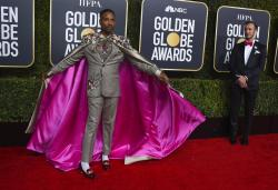 Billy Porter arriving at the Golden Globes.