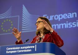 European Union Trade Commissioner Cecilia Malmstrom speaks during a media conference at EU headquarters in Brussels, Friday, Jan. 18, 2019