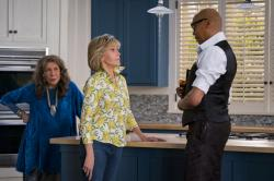 "From left to right: Lily Tomlin, Jane Fonda, and RuPaul Charles in a scene from ""Grace and Frankie."
