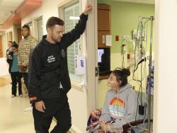 Justin Timberlake visiting patients at the San Antonio, Texas hospital.