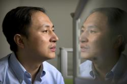 In this Oct. 10, 2018, file photo, He Jiankui is reflected in a glass panel as he works at a computer at a laboratory in Shenzhen in southern China's Guangdong province