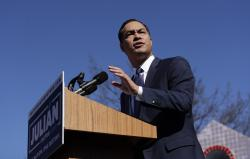 In this Saturday, Jan. 12, 2019, file photo, former San Antonio Mayor and Housing and Urban Development Secretary Julian Castro speaks during an event where he announced his decision to seek the 2020 Democratic presidential nomination, in San Antonio