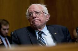 In this Jan. 16, 2019, photo, Sen. Bernie Sanders, I-Vt., reacts during a hearing on Capitol Hill in Washington