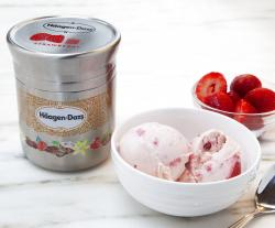 Nestle's stainless steel Ha?agan-Dazs ice cream container designed for use with Loop.