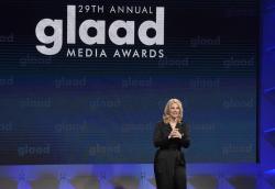 GLAAD President Sarah Kate Ellis speaks at the 29th annual GLAAD Media Awards at the Beverly Hilton Hotel.