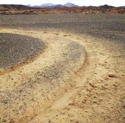 This January, 2019 photo provided by the U.S. National Park Service shows vehicle tracks in an area of Death Valley National Park, Calif., that park staff says can leave a lasting trench