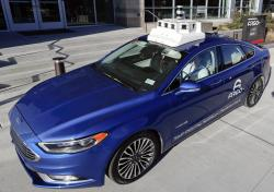 In this Dec. 18, 2018, photo a sensor and camera array on top of one of the test vehicles from Argo AI, Ford's autonomous vehicle unit, is parked at the company offices in Pittsburgh