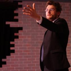"""Jeff Church in """"Thom Pain (based on nothing),"""" running through February 24 at the Burbage Theatre Company."""