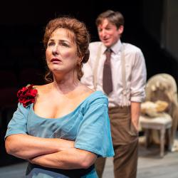 "Rebecca Dines and Joseph Patrick O'Malley in ""Creditors"" at the Aurora Theatre through February 24."