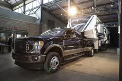 In a photo from, Wednesday, Jan. 30, 2019, in Detroit, a Ford F350 King Ranch truck is displayed at Eastern Market