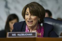 In this Jan. 15, 2109 file photo, Senate Judiciary Committee member Sen. Amy Klobuchar, D-Minn.
