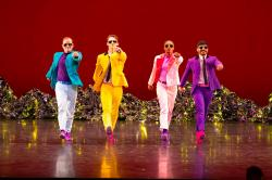 "Dancers portraying The Beatles in Mark Morris Dance Group's ""Pepperland."""