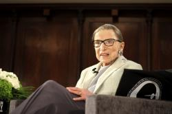 In this Saturday, Dec. 15, 2018 file photo, Supreme Court Justice Ruth Bader Ginsburg sits onstage as a speaker during an event organized by the Museum of the City of New York with WNET-TV held at the New York Academy of Medicine in New York
