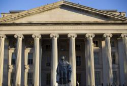 This June 8, 2017, file photo shows the U.S. Treasury Department building in Washington