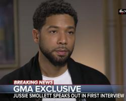 "Jussie Smollett talks with Robin Roberts on ""Good Morning America."""