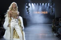 Designer Phillipe Blond walks the runway during The Blonds collection presentation at NY Fashion Week.