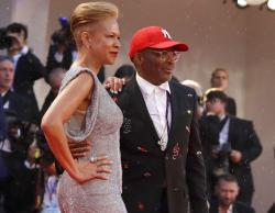 Director Spike Lee, right, and Tonya Lee Lewis. Lee said he would wear neither Prada nor Gucci until they included black designers.