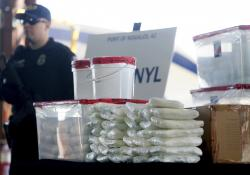 Fentanyl and meth that was seized by Customs and Border Protection officers over the weekend at the Nogales Port of Entry at a press conference in Nogales, Ariz.