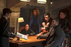 """From left to right: Aidan Gallagher, Ellen Page, Emmy Raver-Lampman, Robert Sheehan, Tom Hopper, David Castaneda in """"The Umbrella Academy."""""""