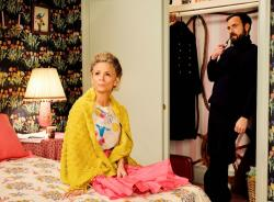 "Amy Sedaris, left, with Justin Theroux in a scene from ""At Home with Amy Sedaris"" Season 2."