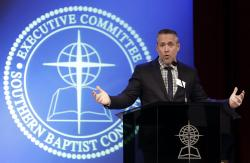 Southern Baptist Convention President J.D. Greear speaks to the denomination's executive committee Monday, Feb. 18, 2019, in Nashville, Tenn.