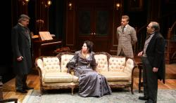 "Will McGarrahan, Anne Gottlieb, Michael John Ciszewski and Remo Airaldi in ""The Little Foxes"" at the Lyric Stage through March 17."