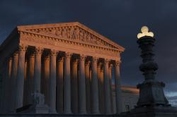 The Supreme Court is seen at sunset in Washington
