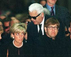 Diana, Princess of Wales, German fashion designer Karl Lagerfeld and British pop-star Elton John, attend the memorial mass for Gianni Versace, inside Milan's gothic cathedral, Italy.