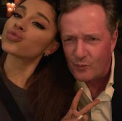 Ariana Grande, left, and Piers Morgan, right.