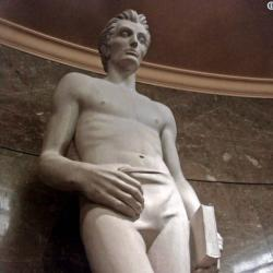 """This limestone sculpture """"Young Lincoln"""" by James Hansen"""