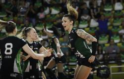 In this Tuesday, Dec. 19, 2017 file photo, Bauru's volleyball player Tiffany Abreu, right, celebrates with teammates during a Brazilian volleyball league match in Bauru, Brazil.