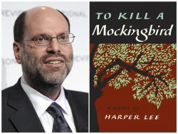 """This combination photo shows Hollywood and Broadway producer Scott Rudin at The National Board of Review Motion Pictures awards gala in New York on Jan. 11, 2011, left, and the cover of Harper Lee's """"To Kill a Mockingbird."""""""