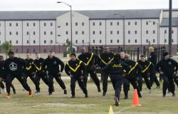 U.S Army troops training to serve as instructors participate in the new Army combat fitness test at the 108th Air Defense Artillery Brigade compound at Fort Bragg, N.C.